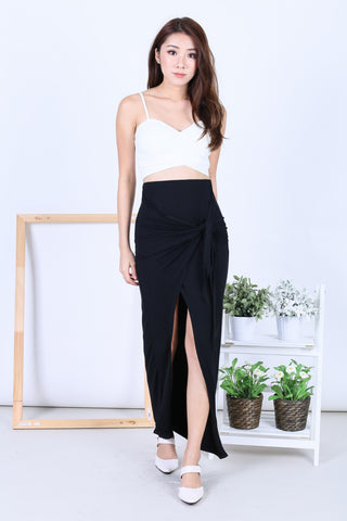 *BACKORDER* GREEK WRAP AND TIE SKIRT IN BLACK