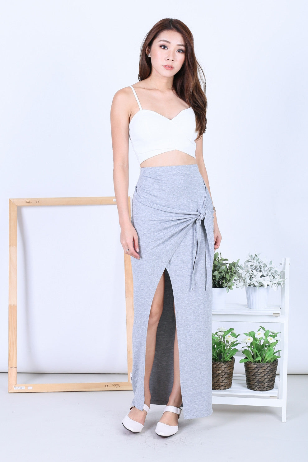 *RESTOCKED* GREEK WRAP AND TIE SKIRT IN LIGHT GREY
