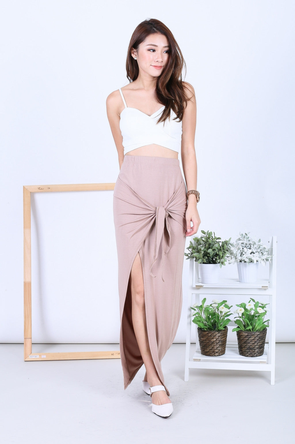 *RESTOCKED* GREEK WRAP AND TIE SKIRT IN TAUPE
