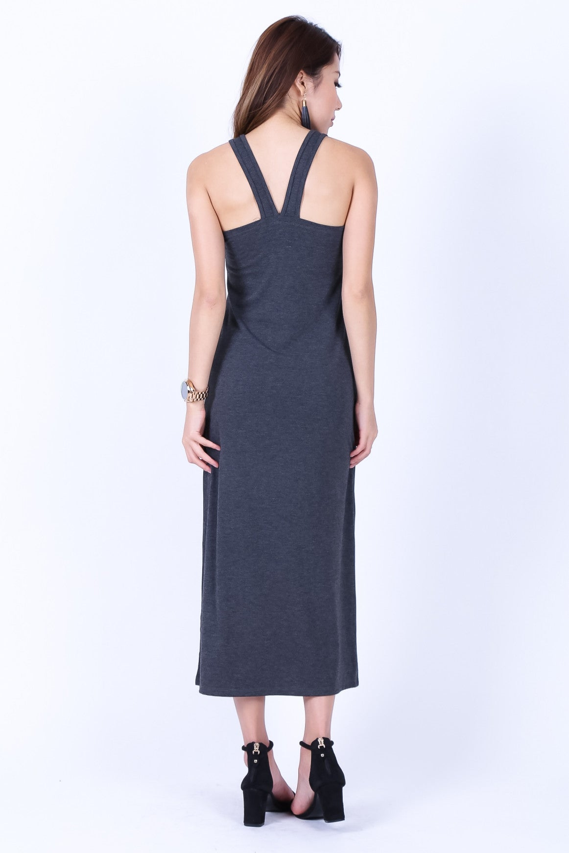 BRADSHAW V BACK MAXI IN DARK GREY - TOPAZETTE