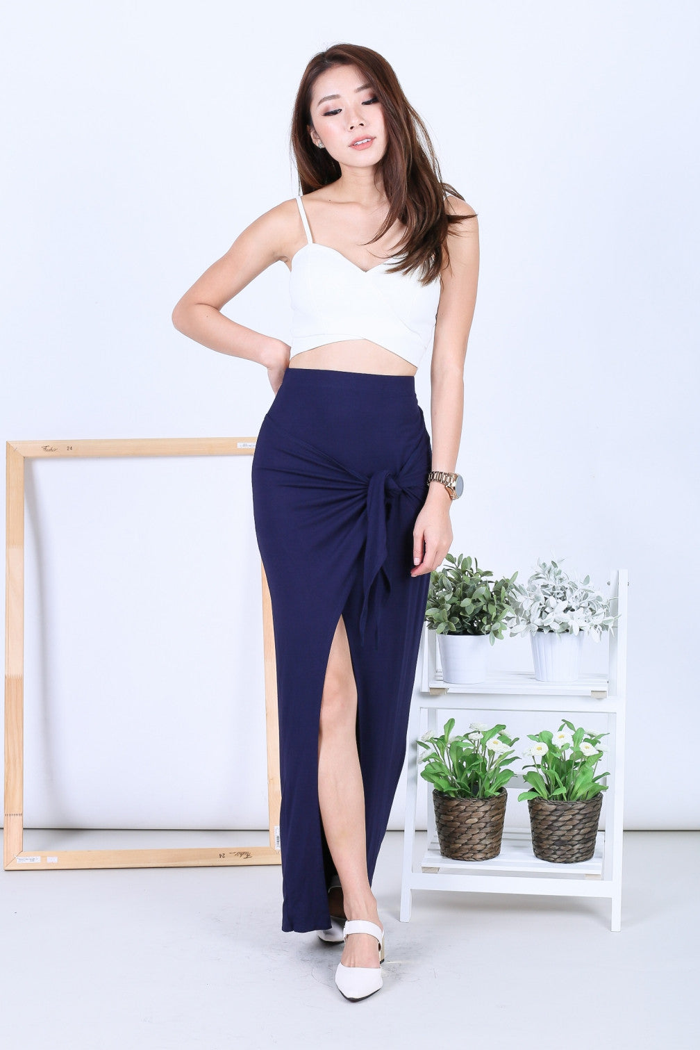 *BACKORDER* GREEK WRAP AND TIE SKIRT IN NAVY - TOPAZETTE