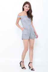 (PREMIUM) LACEY AFFAIR ROMPER IN GREY - TOPAZETTE