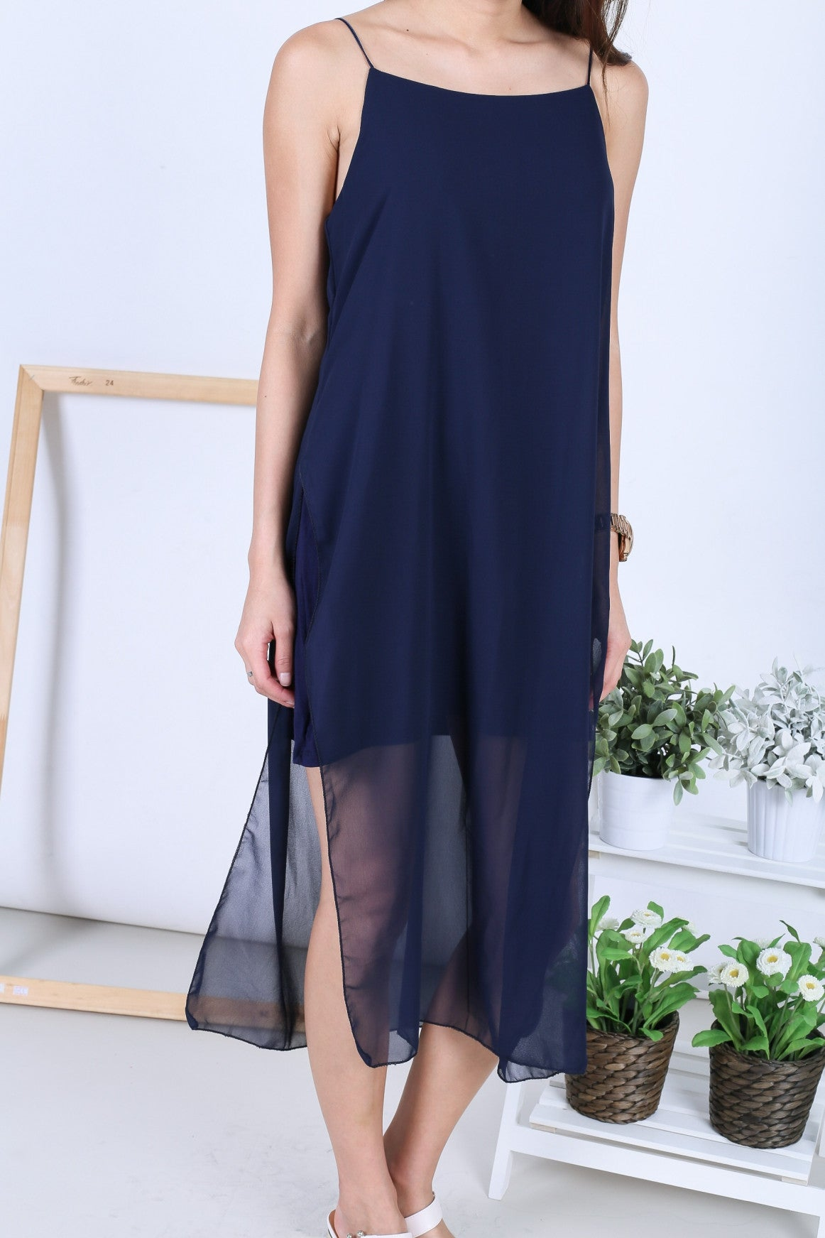 EVA LAYERED DRESS IN NAVY - TOPAZETTE
