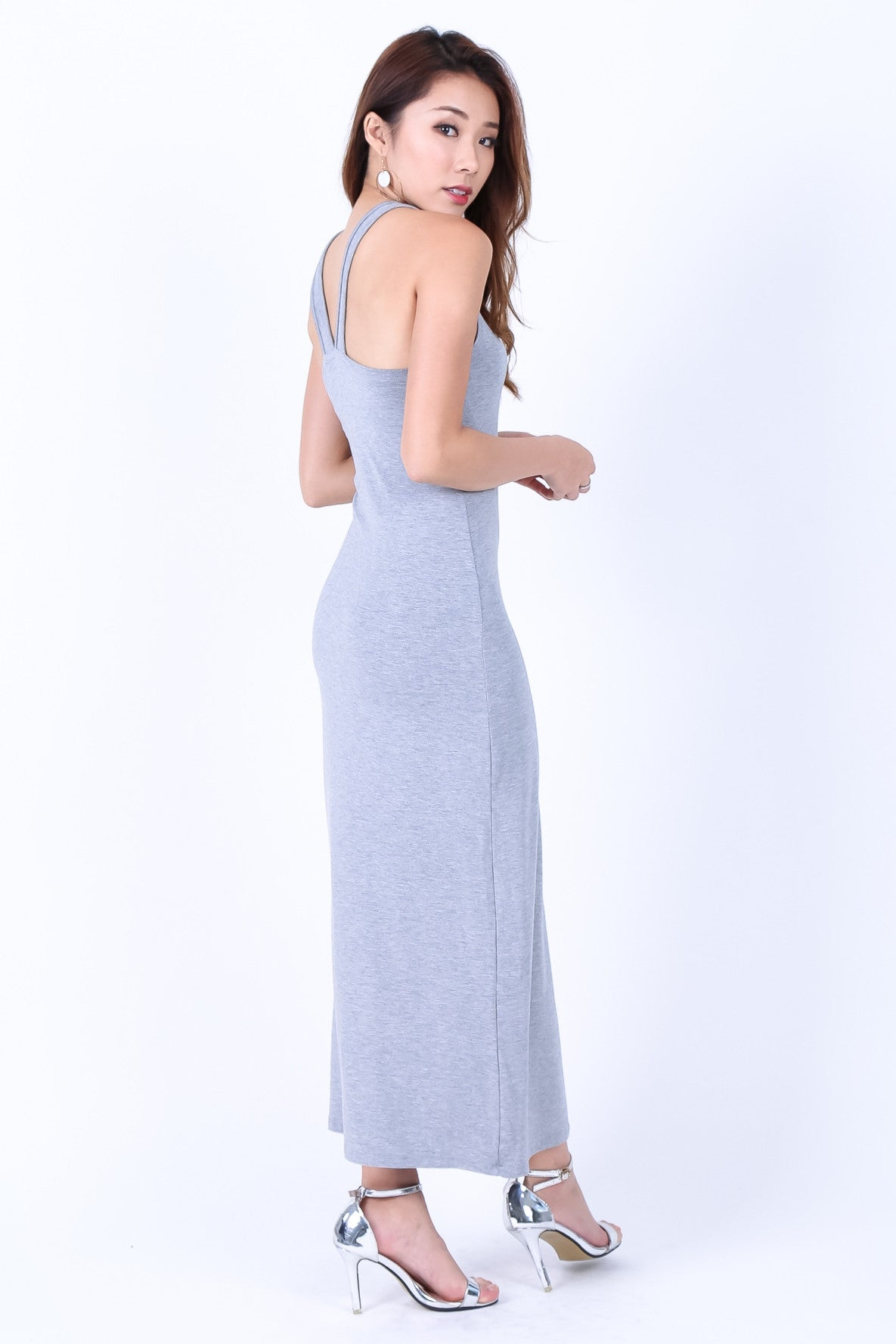 BRADSHAW V BACK MAXI IN LIGHT GREY - TOPAZETTE