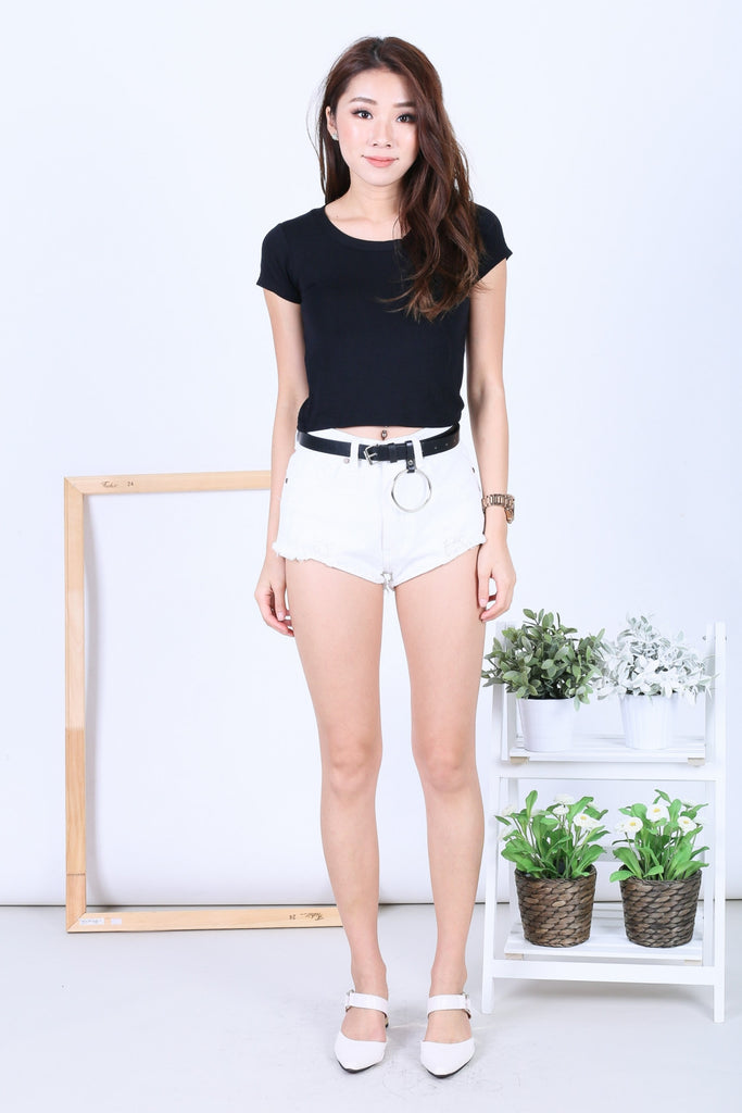 OFF DUTY BASIC TEE TOP IN BLACK - TOPAZETTE