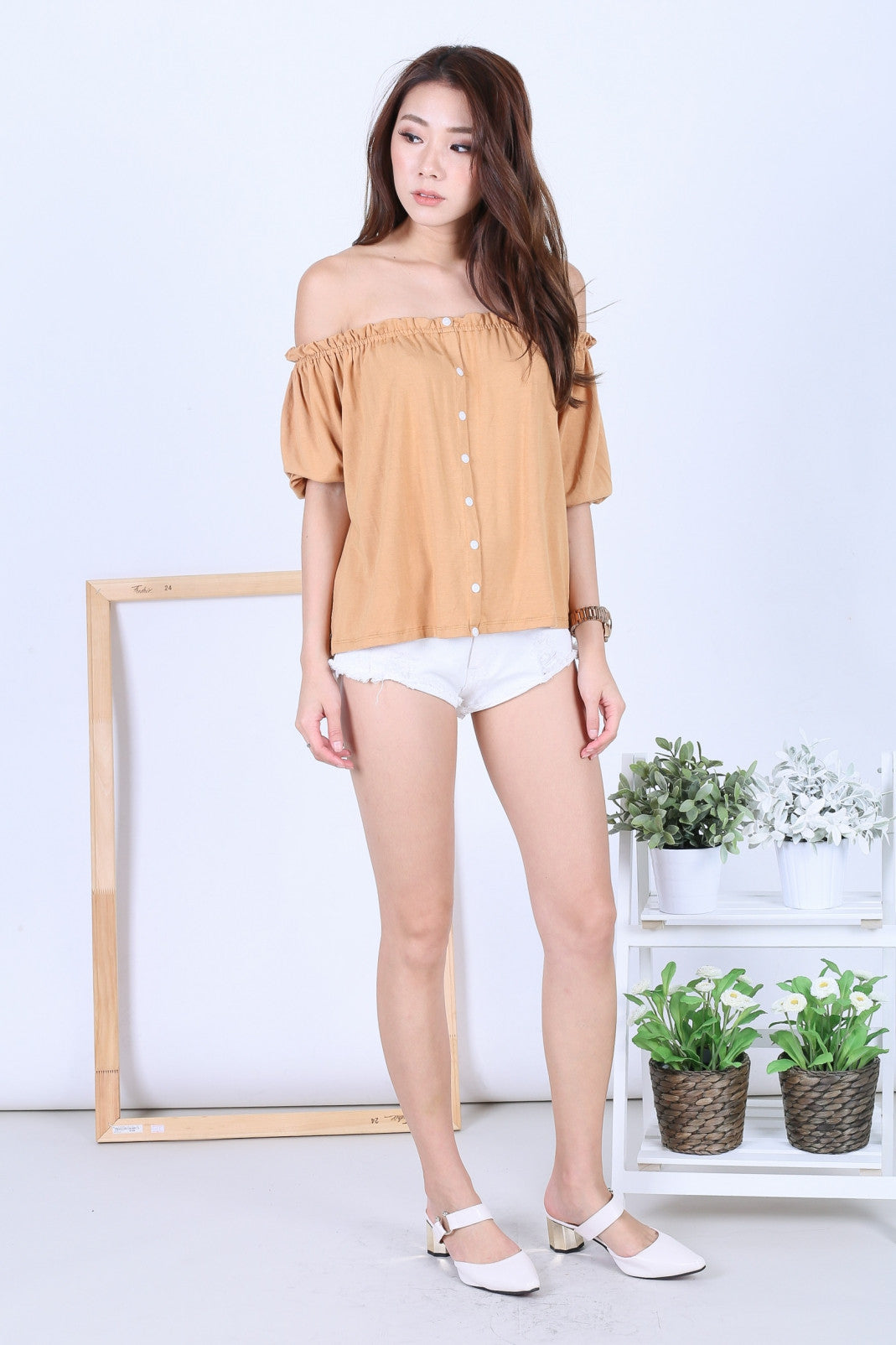 *RESTOCKED* OFF DUTY BUTTON BASIC OFFSIE IN MUSTARD