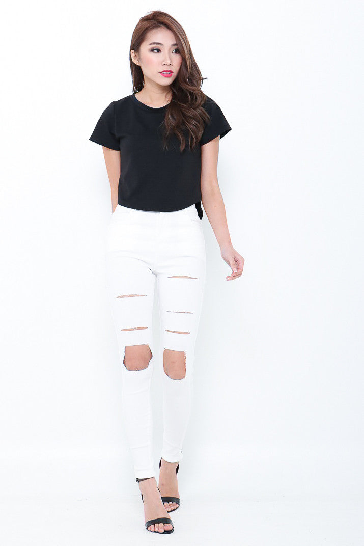 (EXTRAS FROM BACKORDER) HOLE NEW WORLD DENIM JEGGINGS IN WHITE - TOPAZETTE