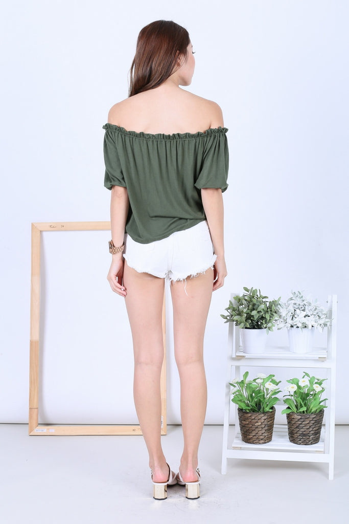 *BACKORDER* OFF DUTY BUTTON BASIC OFFSIE IN ARMY GREEN - TOPAZETTE
