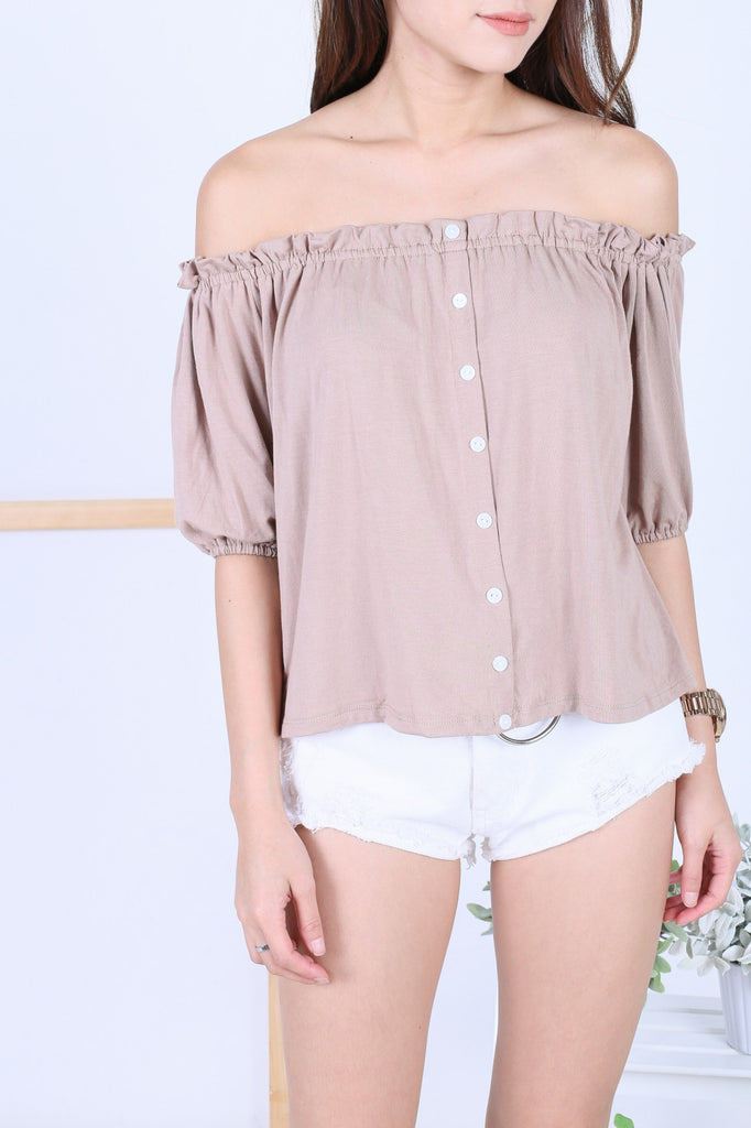 *RESTOCKED* OFF DUTY BUTTON BASIC OFFSIE IN TAUPE