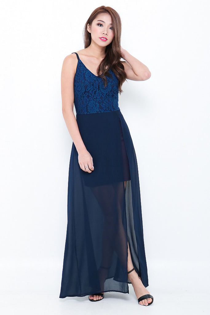 *RESTOCKED* (PREMIUM) LIZ MAXI IN NAVY - TOPAZETTE