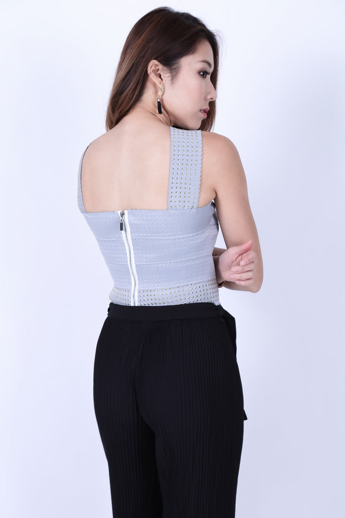 STUDDED BANDAGE BODYCON TOP IN GREY - TOPAZETTE