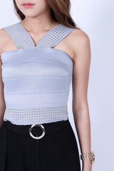 STUDDED BANDAGE BODYCON TOP IN GREY