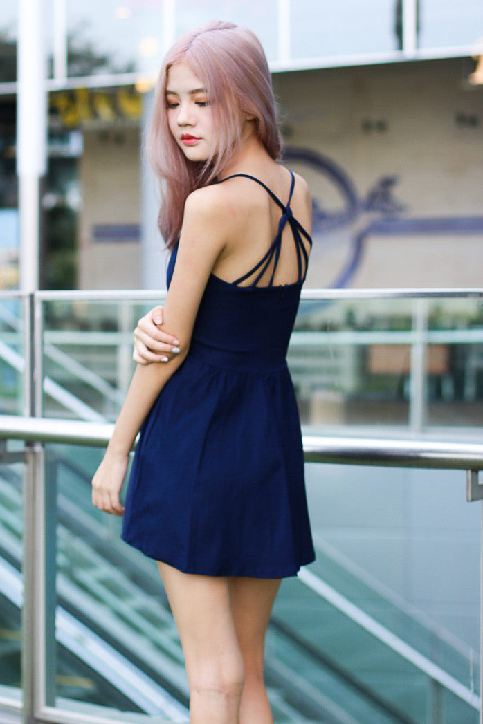 (RESTOCKED) WEBBED BACK DRESS IN NAVY - TOPAZETTE
