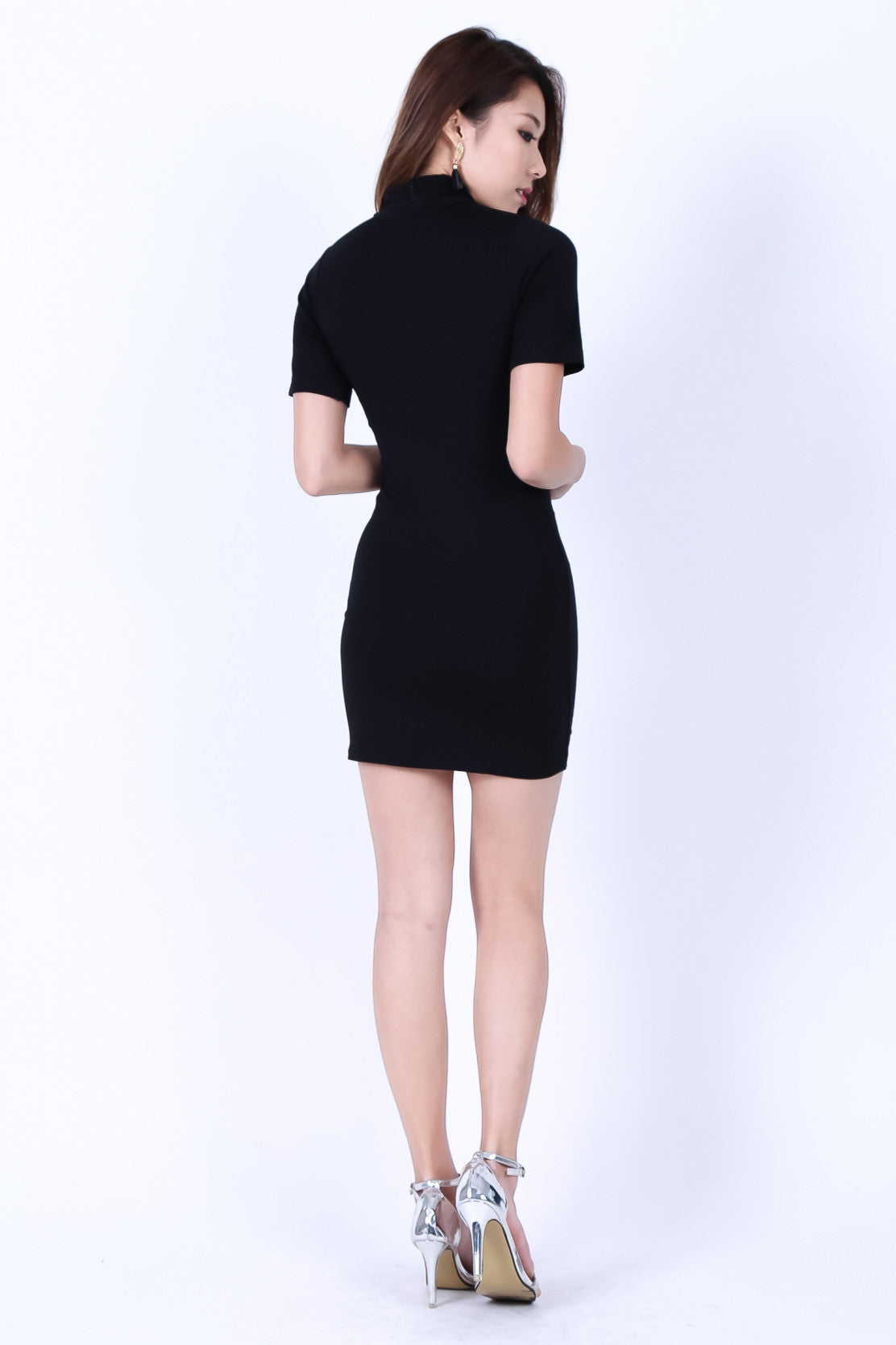 *RESTOCKED* HIGH NECK BASIC TEE DRESS IN BLACK - TOPAZETTE