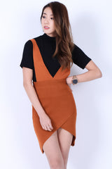 OVERLAP DUNGAREE DRESS IN CAMEL - TOPAZETTE