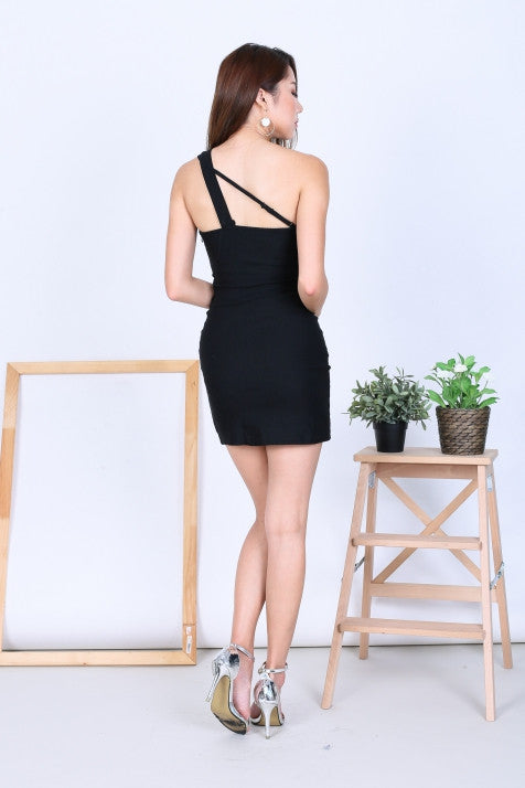 *RESTOCKED* TOGA CUT OUT BODYCON DRESS IN BLACK