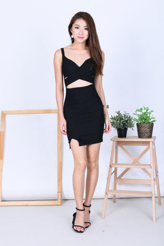 c0843b1ae4f CROSS WRAP BODYCON DRESS IN BLACK - TOPAZETTE