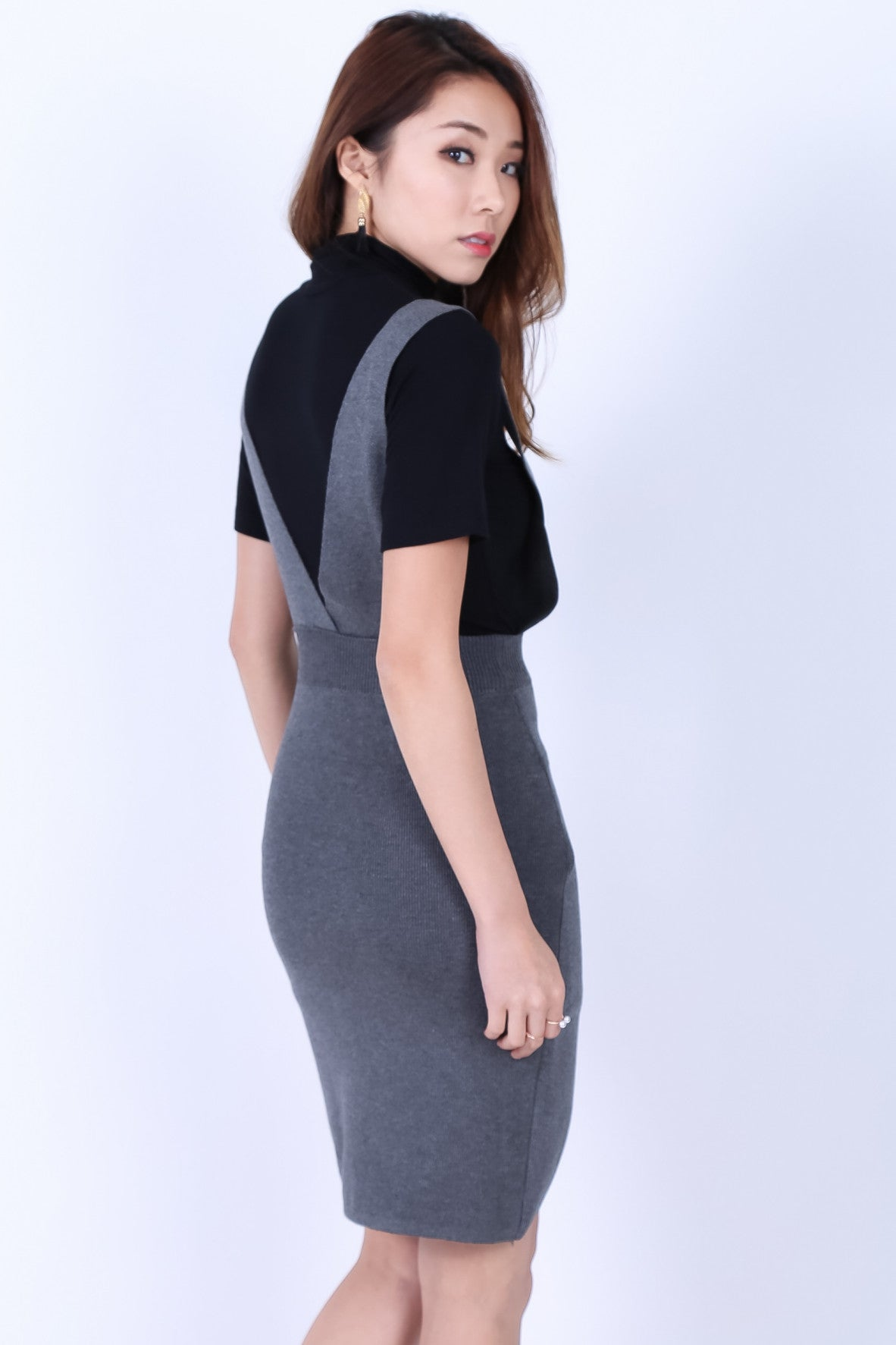 OVERLAP DUNGAREE DRESS IN GREY - TOPAZETTE