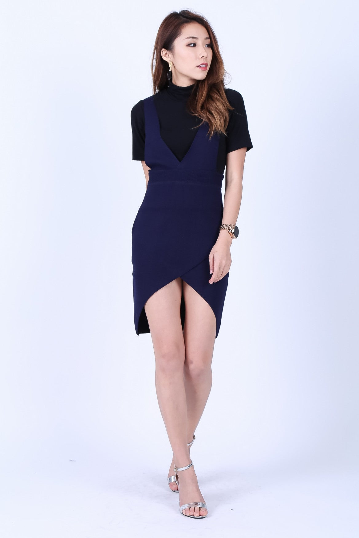 OVERLAP DUNGAREE DRESS IN NAVY - TOPAZETTE