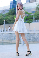 ROSE LACED BACK DRESS IN WHITE (RESTOCKED)