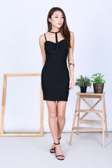 T FRONT BODYCON DRESS IN BLACK