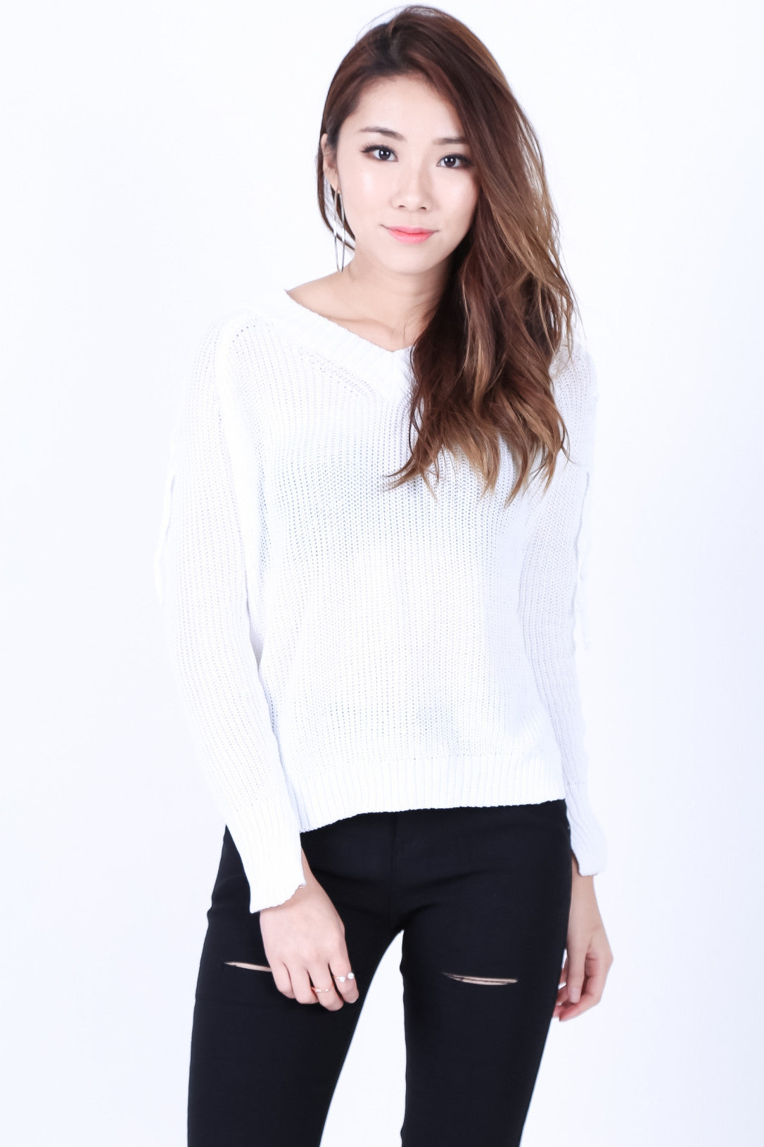 CABLE KNIT LACED TOP IN WHITE - TOPAZETTE