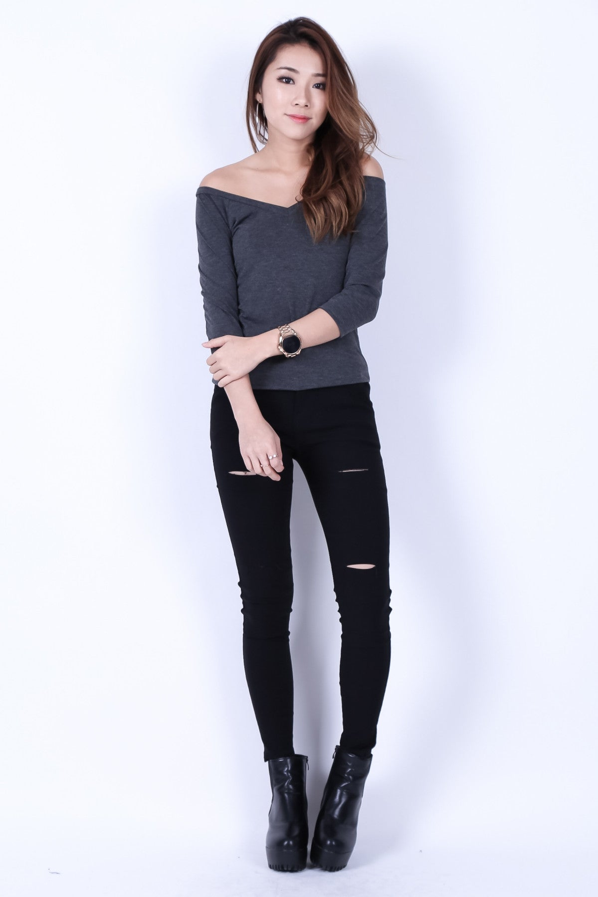 *BACKORDER* COMFY DUAL STRAPS TOP IN DARK GREY - TOPAZETTE