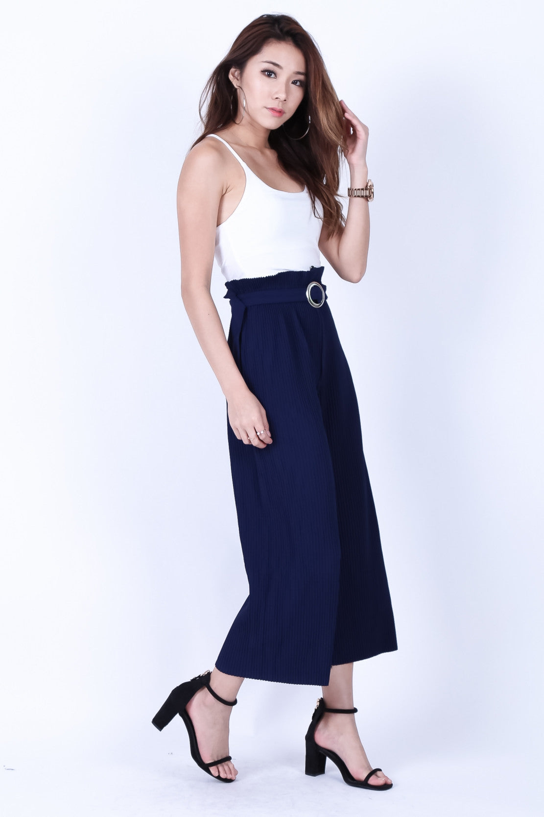 *BACKORDER* OFF DUTY PLEATED CULOTTES IN NAVY - TOPAZETTE