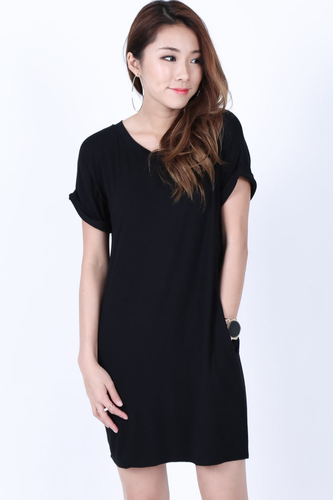 *BACKORDER* POCKETFUL OF SUNSHINE DRESS IN BLACK - TOPAZETTE
