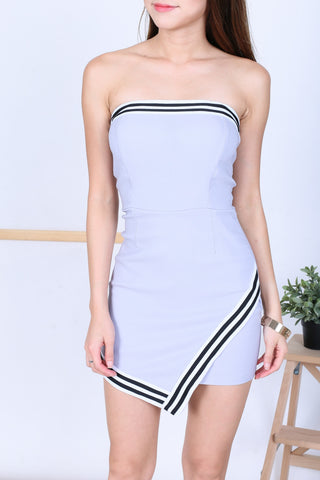 *BACKORDER* VARSITY ASYMMETRICAL TUBE DRESS IN GREY