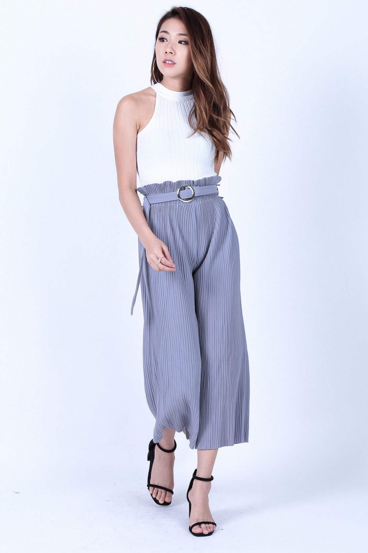 *RESTOCKED* OFF DUTY PLEATED CULOTTES IN GREY - TOPAZETTE