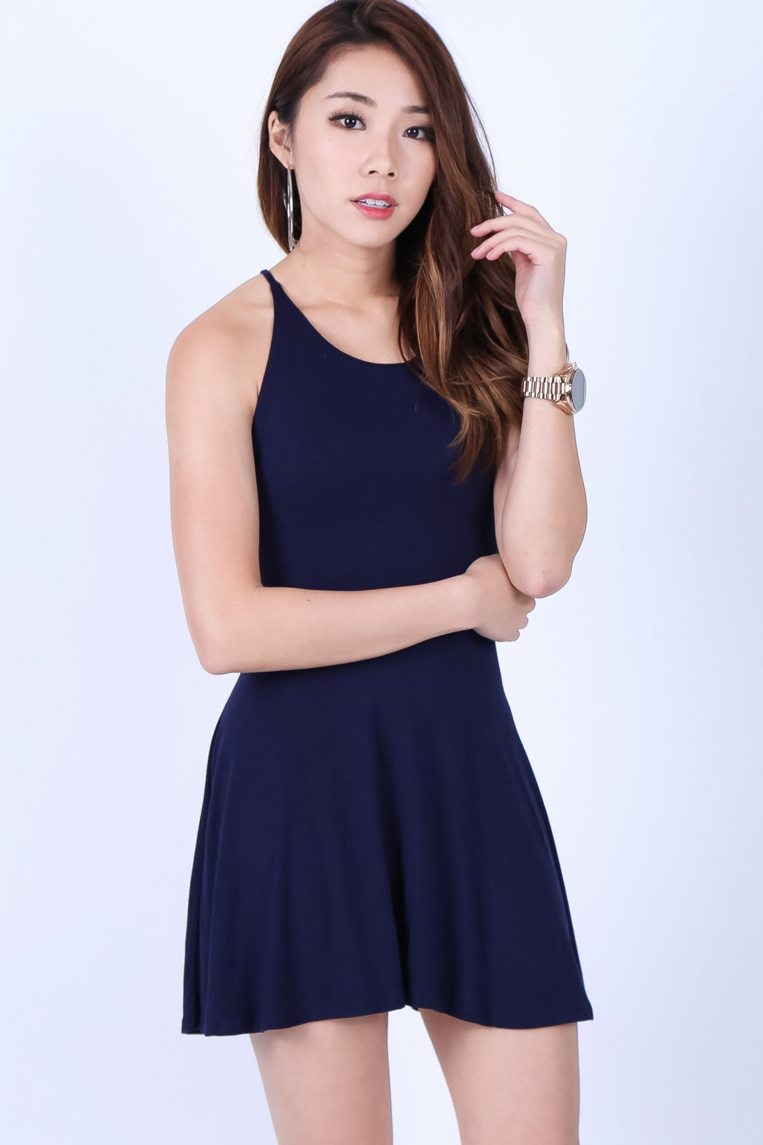 *RESTOCKED* LACED CROSS BACK DRESS IN NAVY
