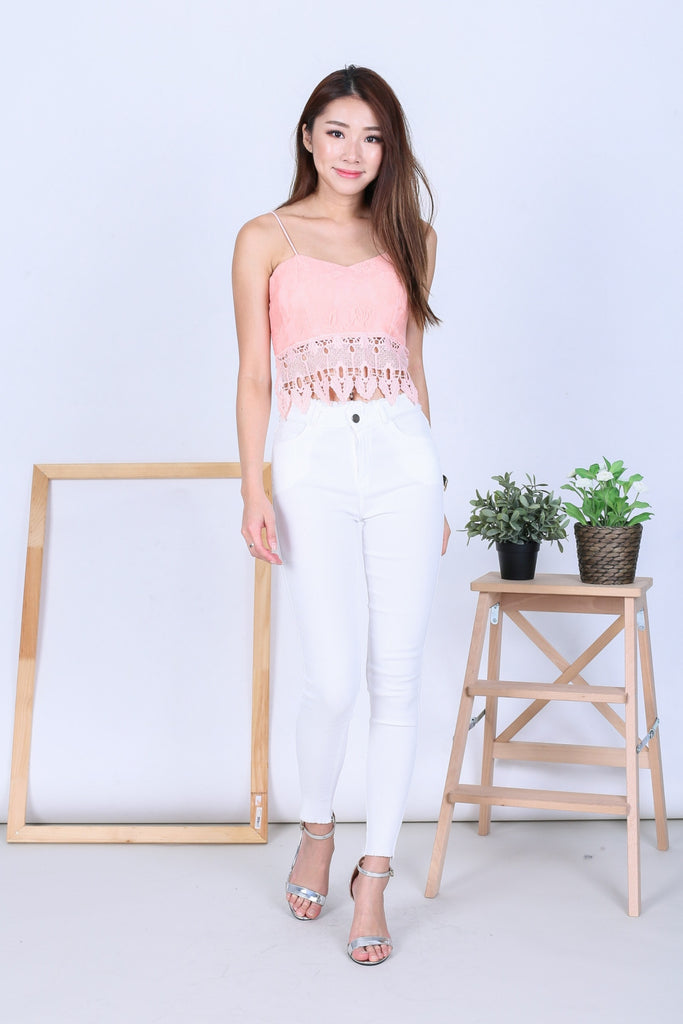 (BACKORDER) FRAY HEM SLIM CUT JEGGINGS IN WHITE - TOPAZETTE