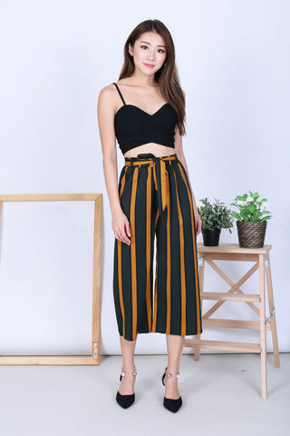 *BACKORDER* TAZMIN STRIPES CULOTTES IN FOREST/MUSTARD