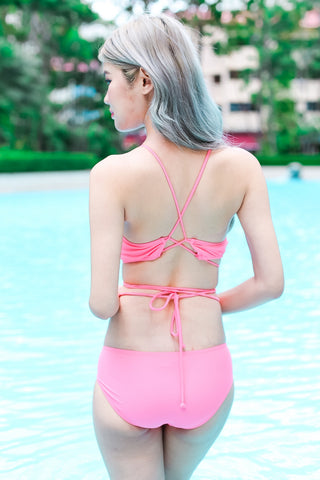 SOUTH BAY LACED TIE AROUND BIKINI SET (BABY PINK)