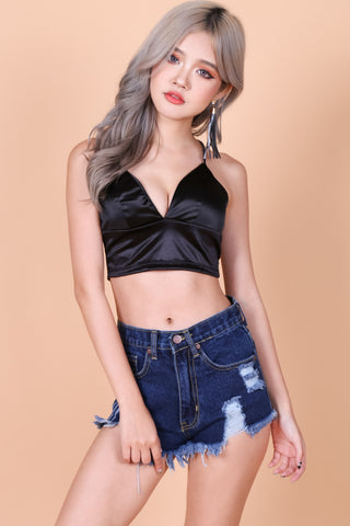 SATIN MIDI BRALETTE (BLACK)