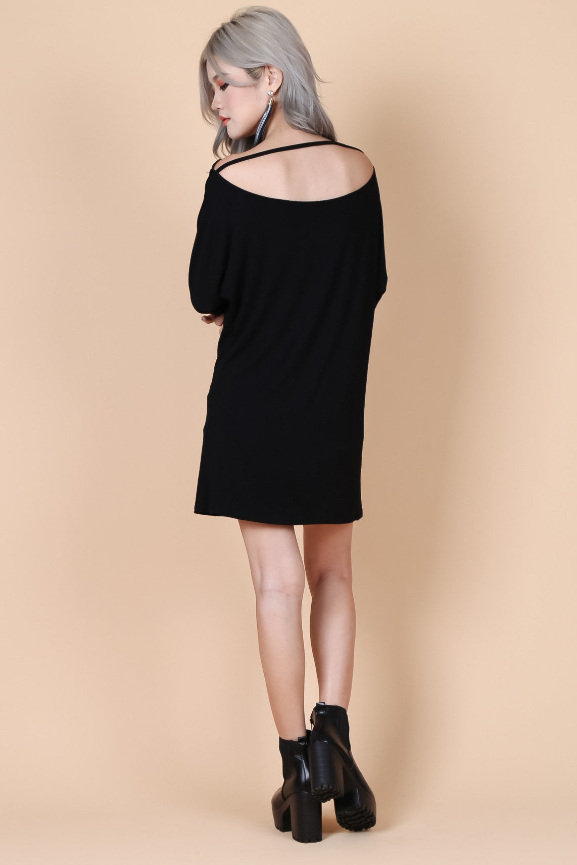 *RESTOCKED* PULL THE STRING DRESS IN BLACK - TOPAZETTE