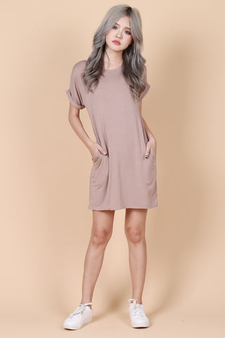 *RESTOCKED* POCKETFUL OF SUNSHINE DRESS IN TAUPE