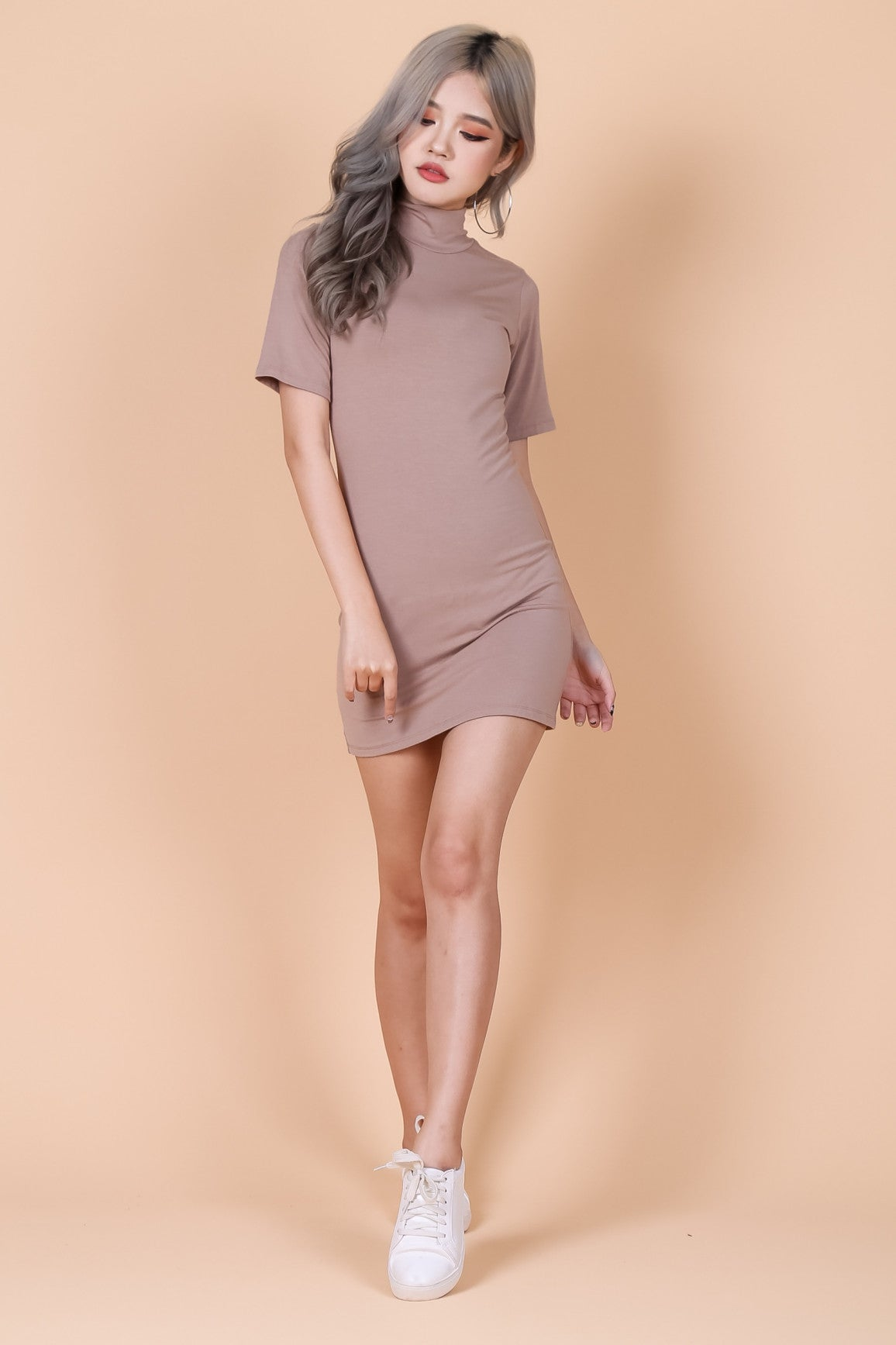 *RESTOCKED* HIGH NECK BASIC TEE DRESS IN TAUPE - TOPAZETTE