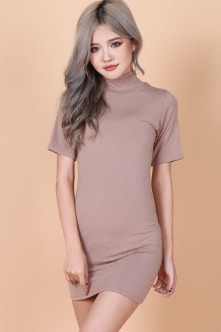 *RESTOCKED* HIGH NECK BASIC TEE DRESS IN TAUPE