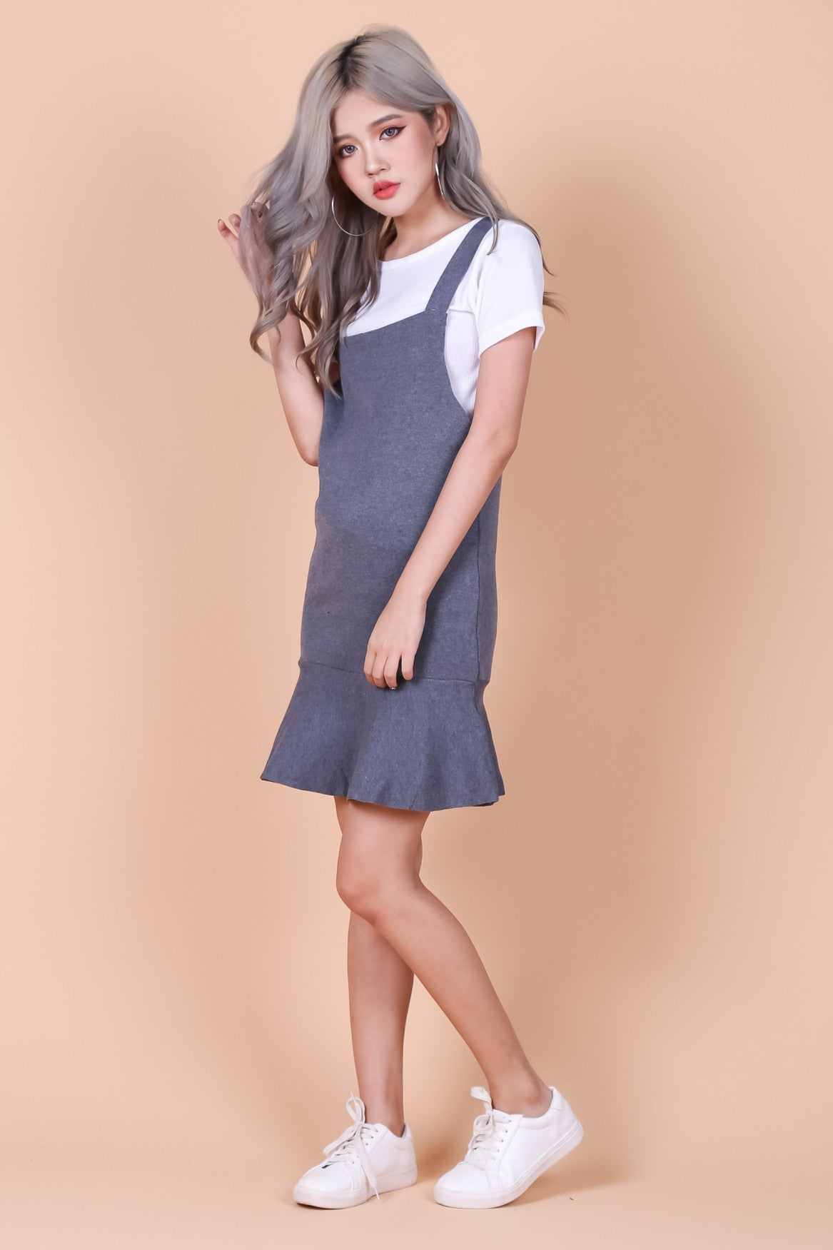 *RESTOCKED* MERMAID DUNGAREE 2 PC SET IN GREY - TOPAZETTE