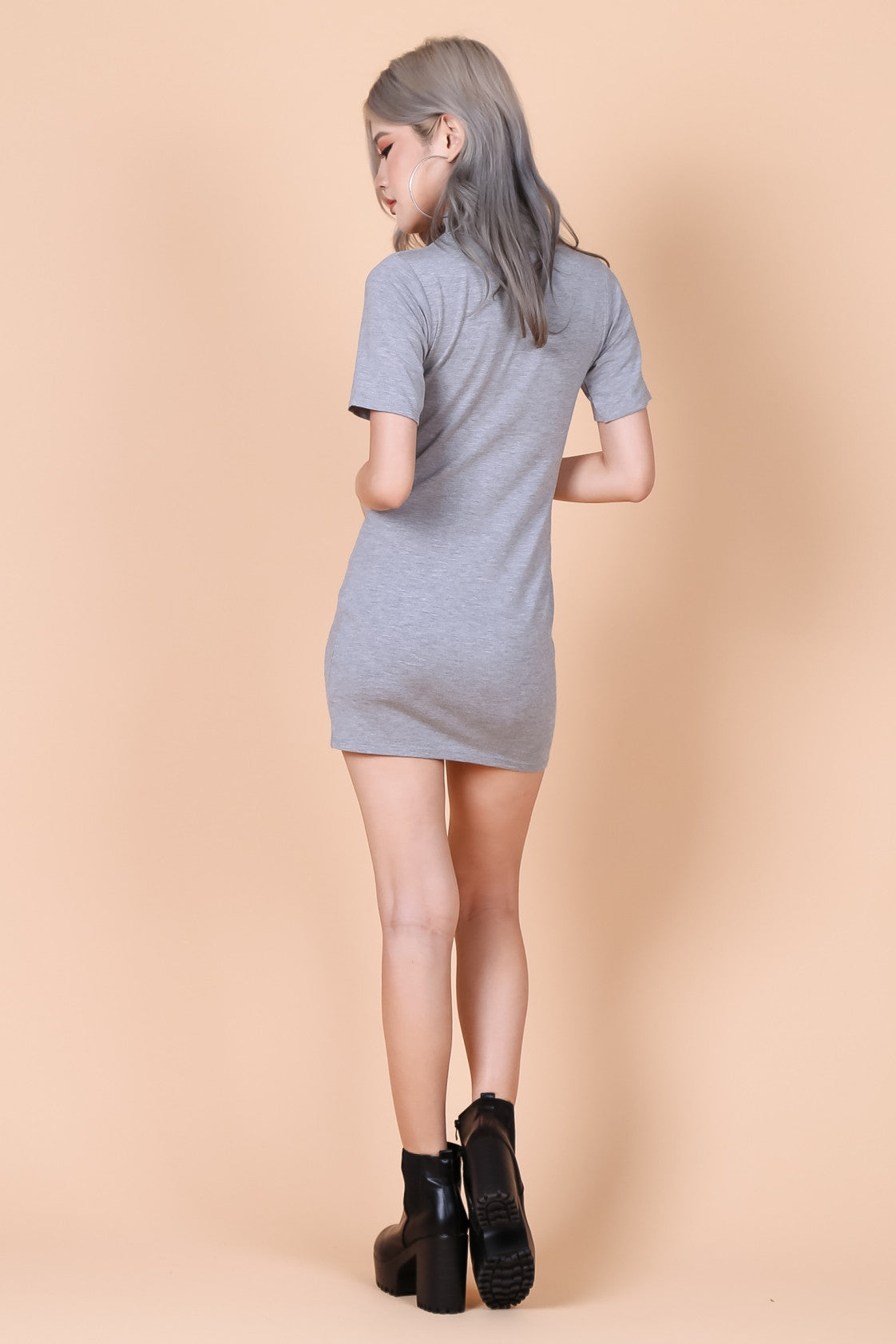 *RESTOCKED* HIGH NECK BASIC TEE DRESS IN LIGHT GREY - TOPAZETTE