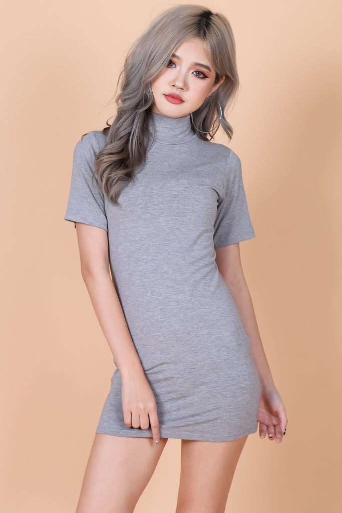 *BACKORDER* HIGH NECK BASIC TEE DRESS IN LIGHT GREY - TOPAZETTE