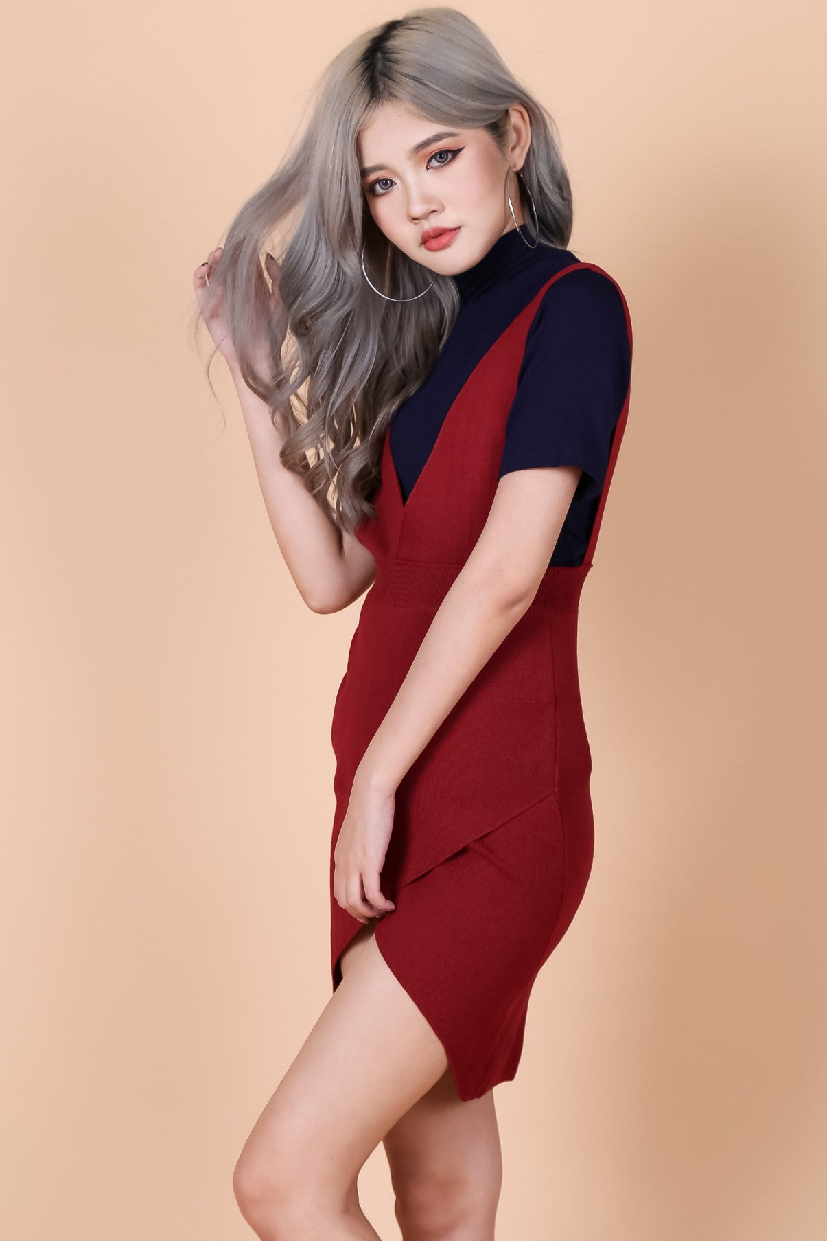 OVERLAP DUNGAREE DRESS IN WINE - TOPAZETTE
