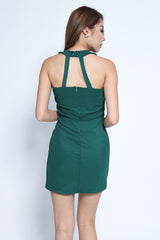 CRISS CROSS BODYCON DRESS IN FOREST - TOPAZETTE