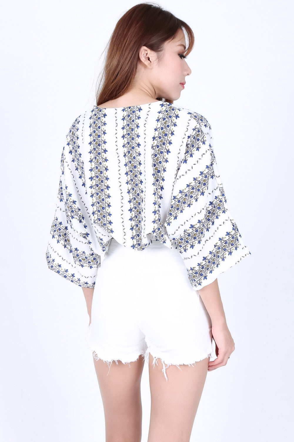 CUTTING EDGE FRAYED SHORTS IN WHITE - TOPAZETTE