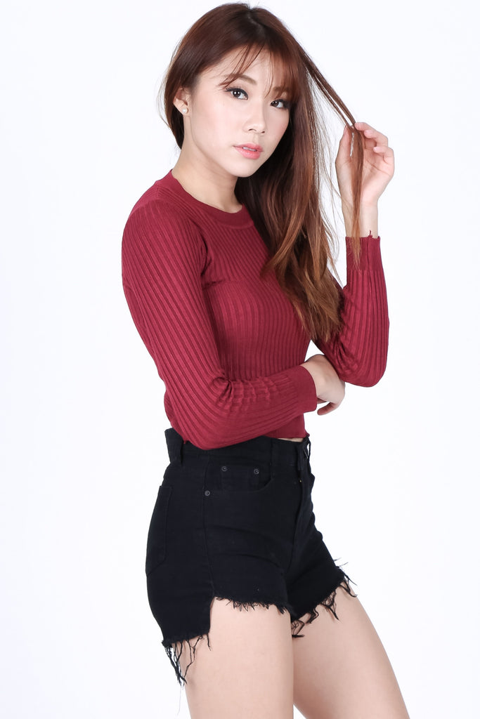 WILLOW SOFT KNIT TOP IN WINE