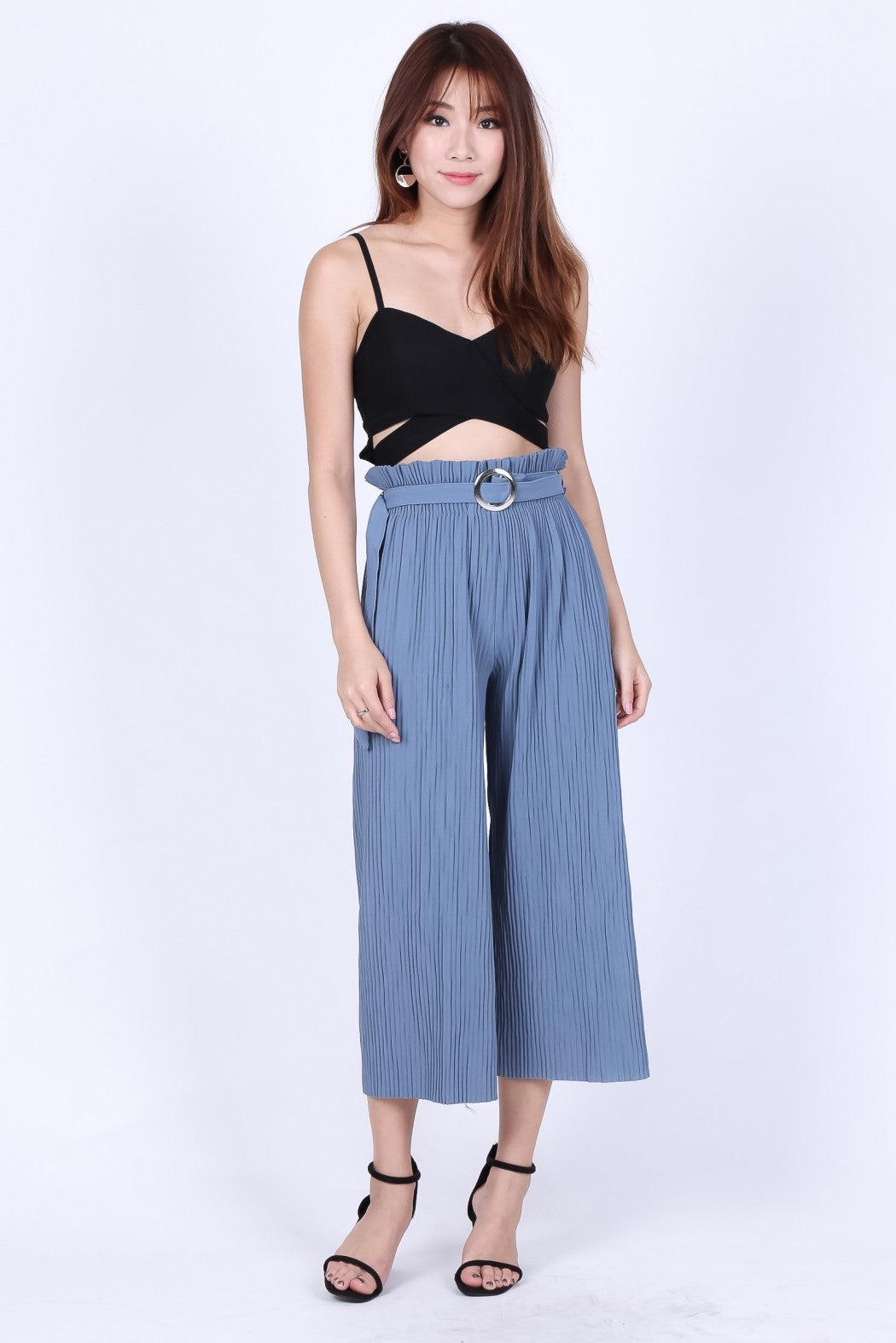 *RESTOCKED* OFF DUTY PLEATED CULOTTES IN OCEAN BLUE - TOPAZETTE