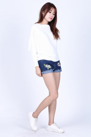 FLORAL EMBROIDERY DENIM SHORTS (DARK) - TOPAZETTE