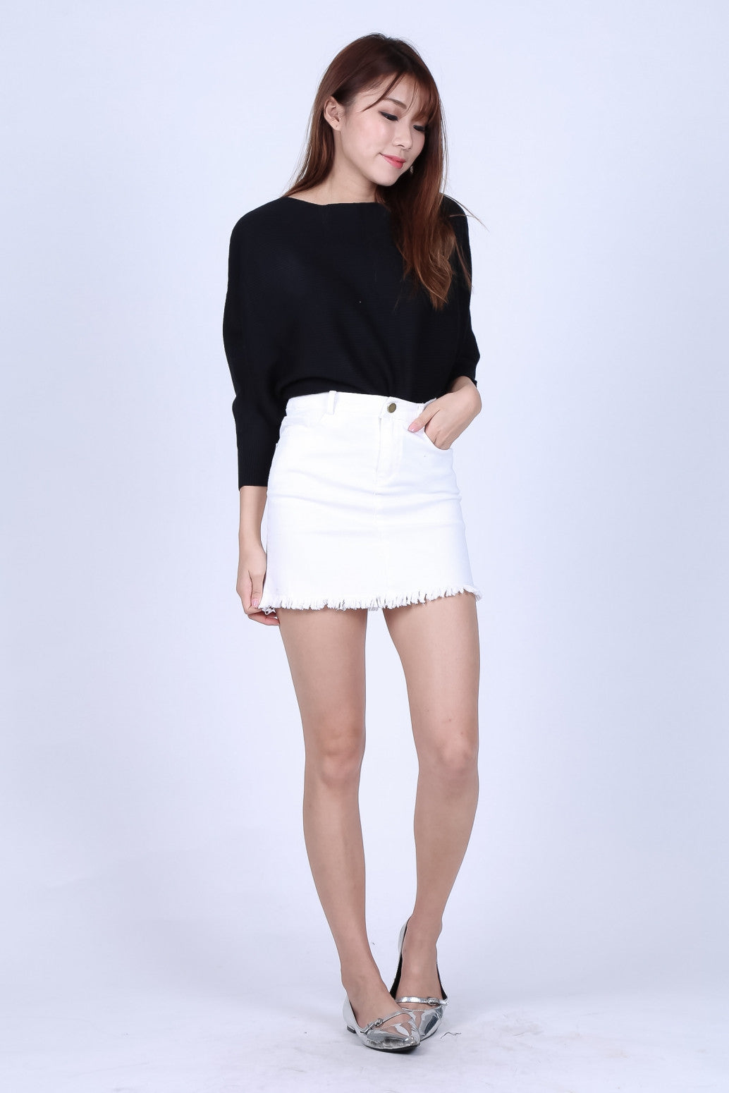 d8aacb44d RESTOCKED* CASSIEL FRAYED DENIM SKIRT IN WHITE – TOPAZETTE